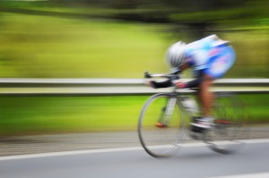 Blur of cyclist in motion